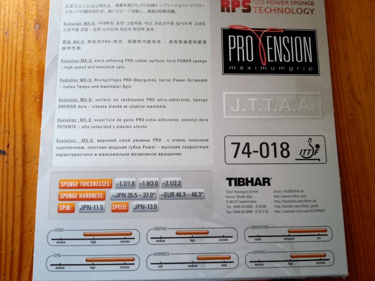 Tibhar Evolution MX-S Cover Rückseite