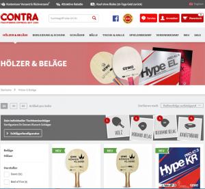 Contra Tischtennis Online Shop