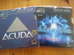 Donic Acuda Blue P1 Turbo und Donic Bluefire Big Slam