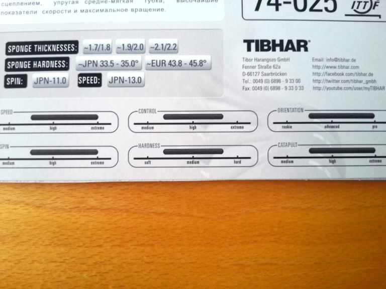 Tibhar Evolution EL-S Werteangaben