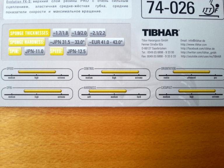 Tibhar Evolution FX-S Werteangaben