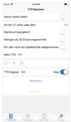 TTR Rechner App TT-SPIN iOS